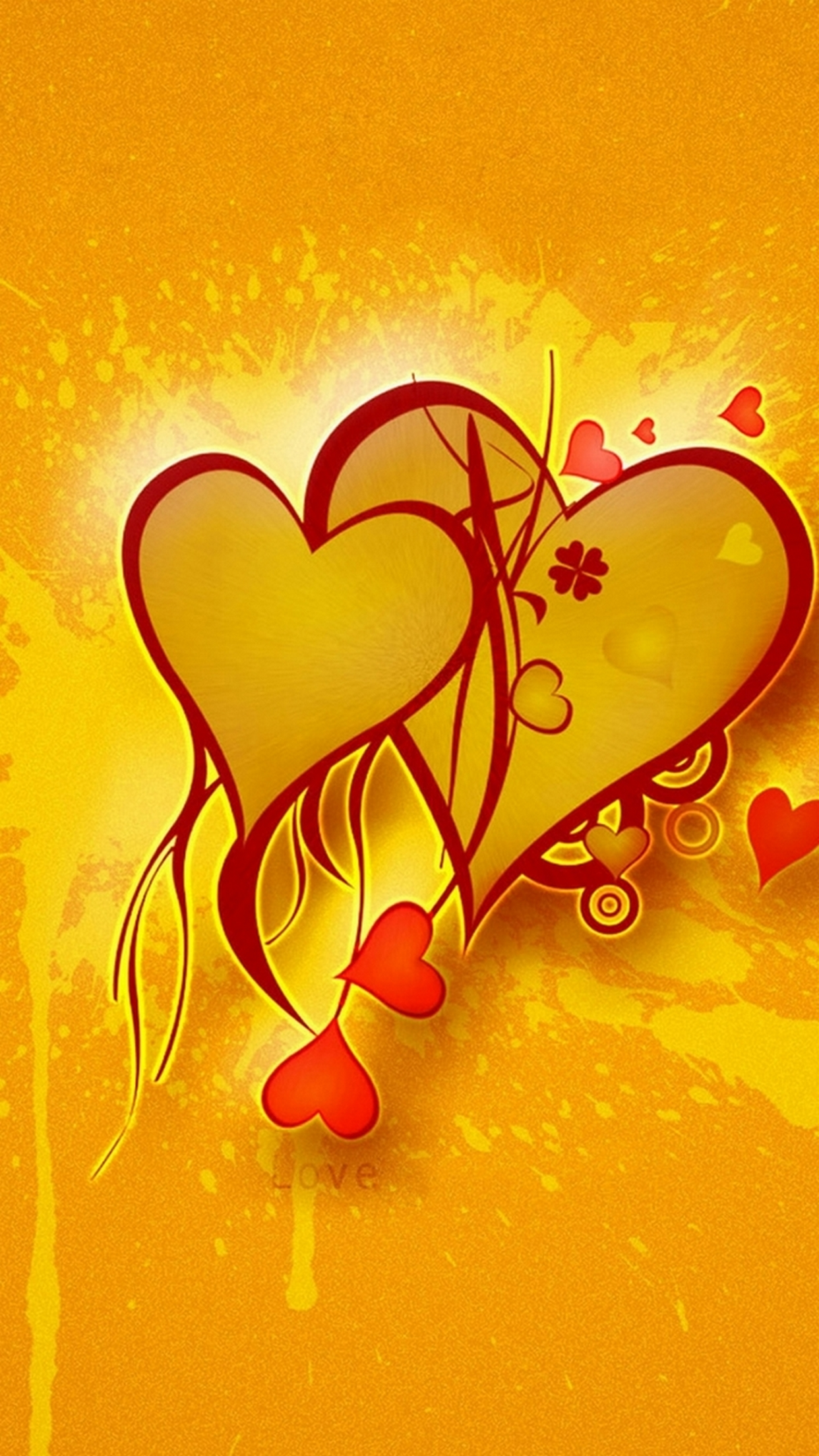hd wallpapers for mobile,heart,love,illustration,valentine's day,yellow