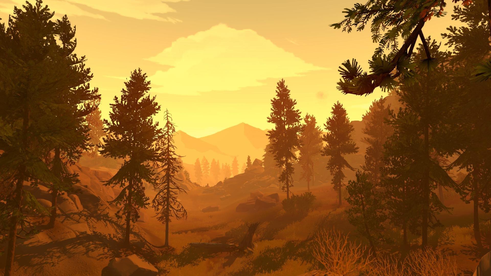 firewatch wallpaper,nature,natural landscape,sky,tree,atmospheric phenomenon