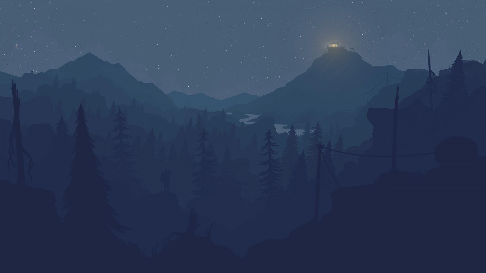 firewatch wallpaper,sky,blue,atmospheric phenomenon,mountainous landforms,mountain