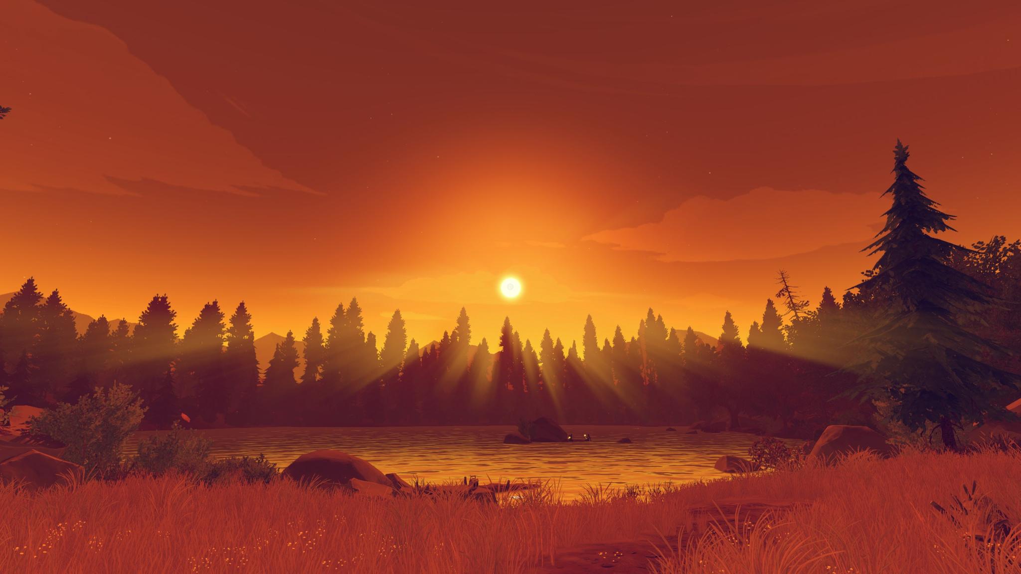 firewatch wallpaper,sky,nature,sunrise,natural landscape,red sky at morning