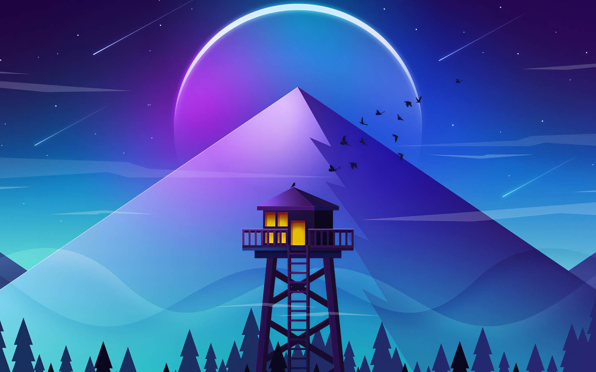 firewatch wallpaper,sky,light,illustration,architecture,graphic design