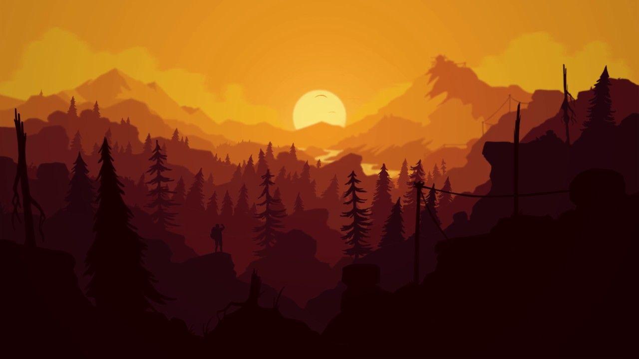firewatch wallpaper,sky,atmospheric phenomenon,natural landscape,orange,sunrise