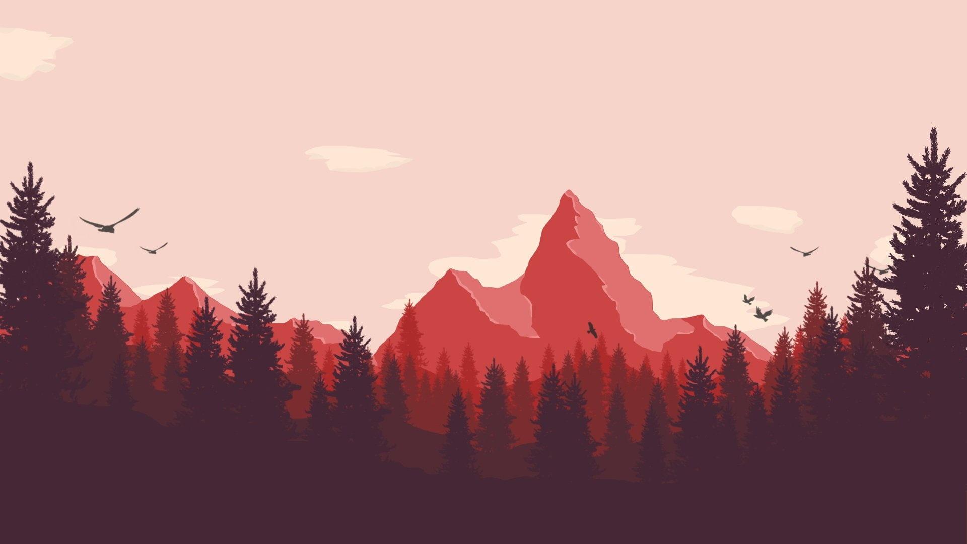 firewatch wallpaper,sky,mountainous landforms,mountain,nature,natural landscape