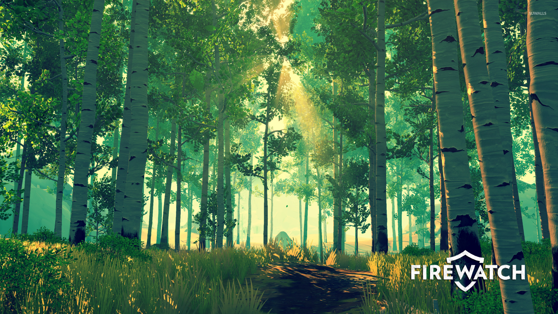 firewatch wallpaper,natural landscape,tree,nature,people in nature,forest