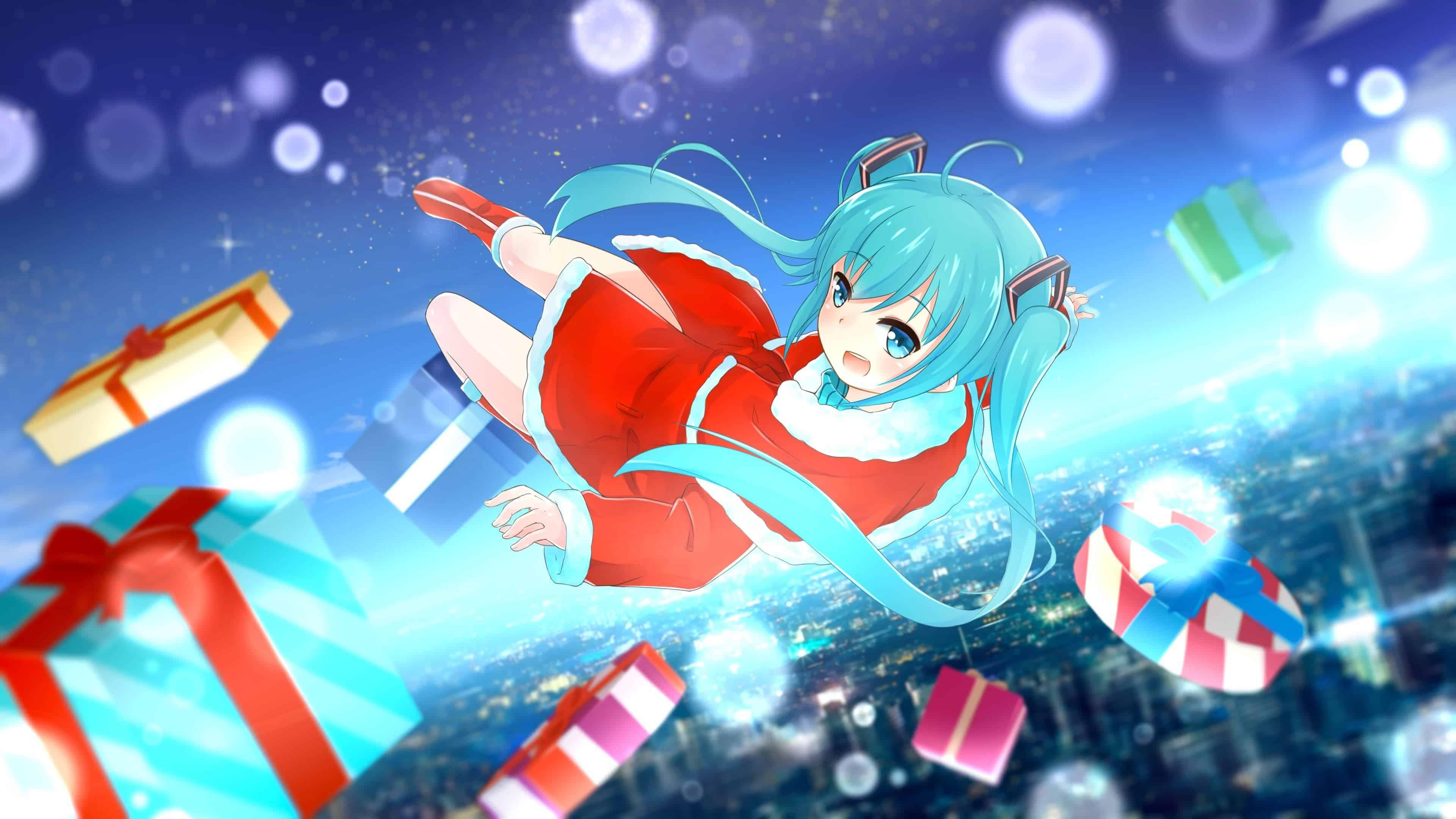 hatsune miku wallpaper,cartoon,sky,anime,fictional character,illustration