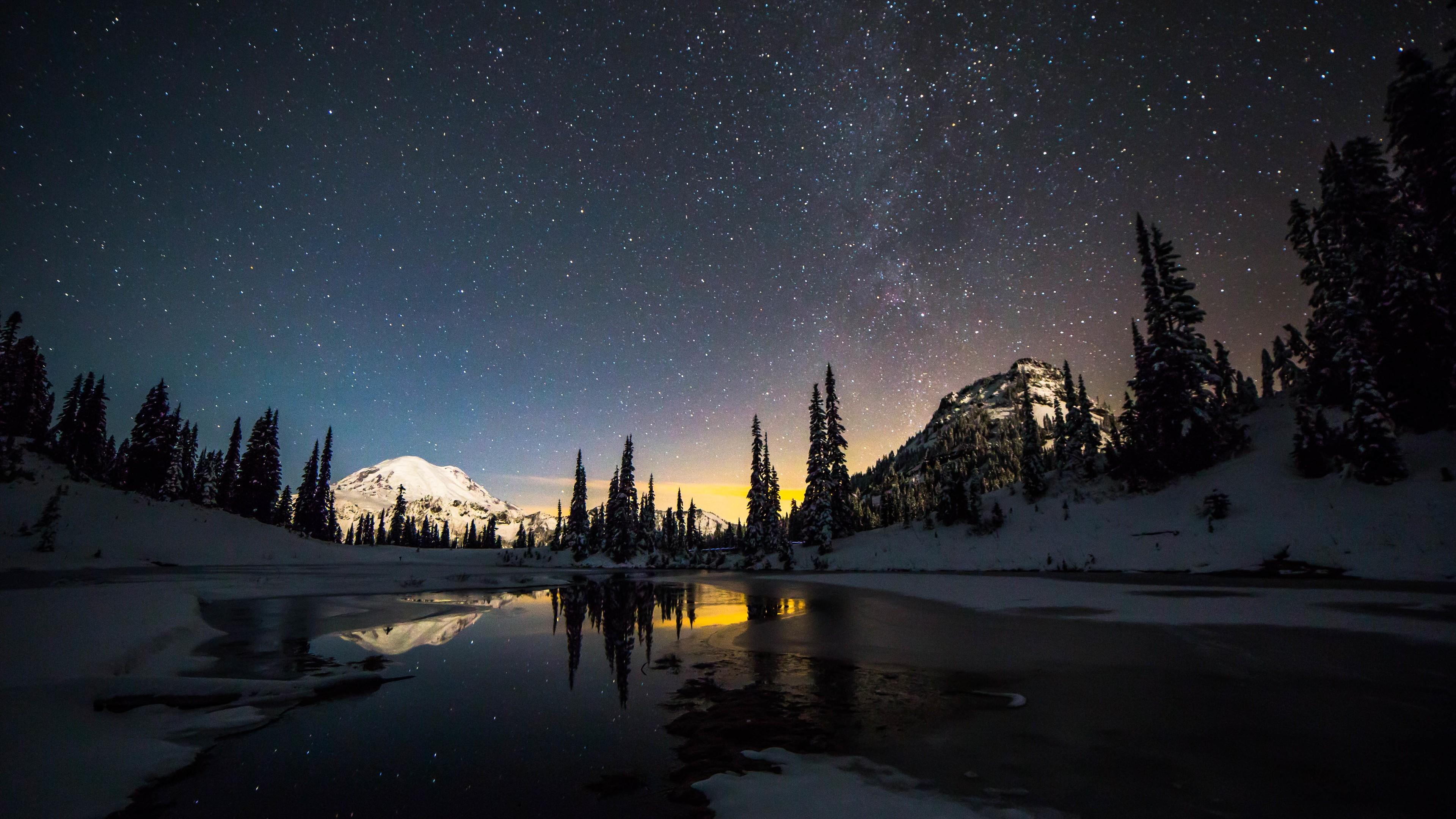 space wallpaper 4k,sky,nature,snow,winter,night