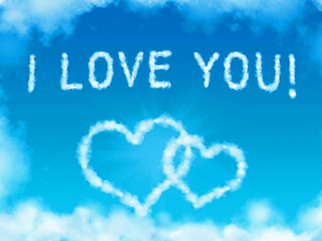 i love you wallpaper,sky,text,blue,font,cloud