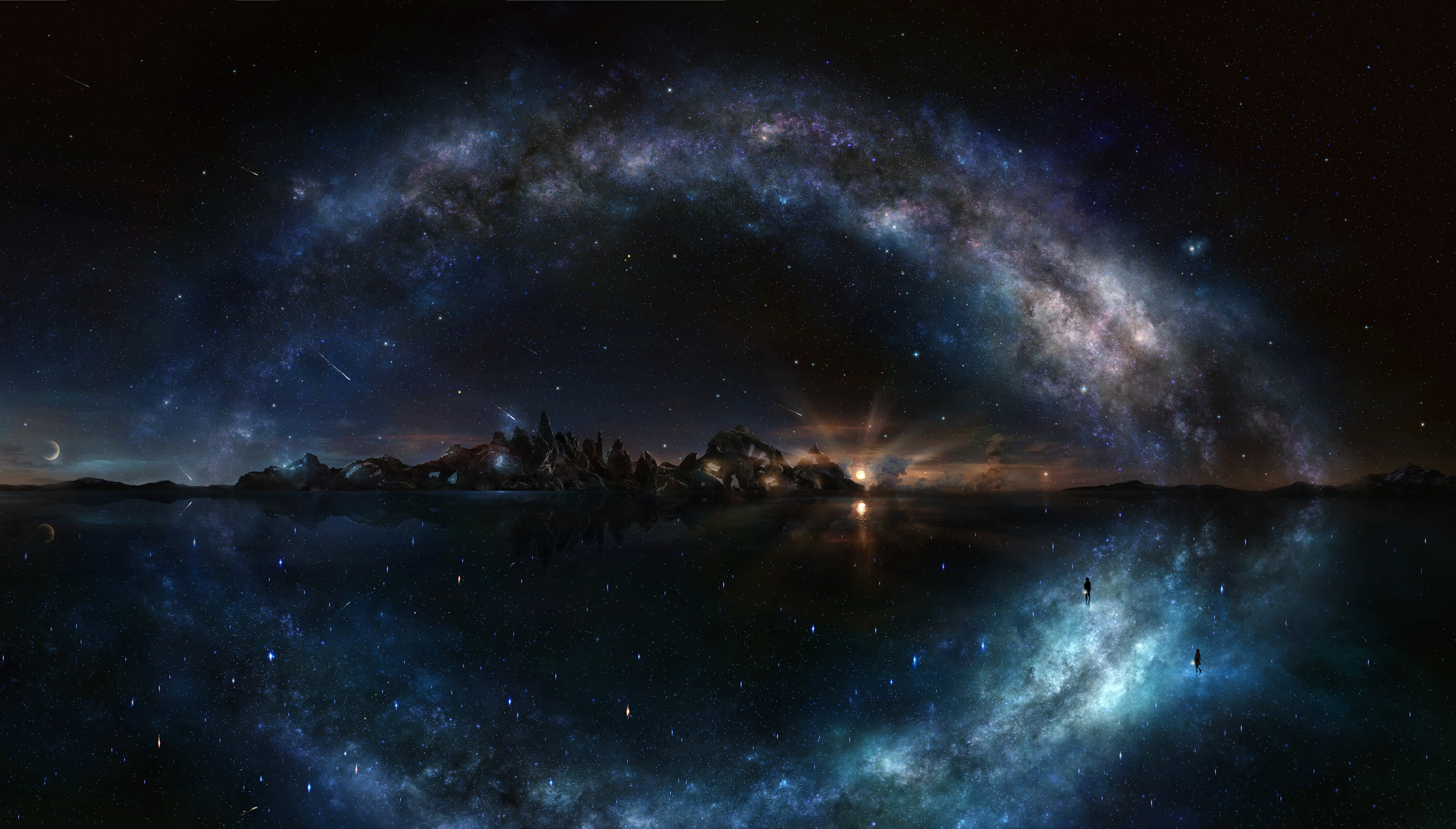 night sky wallpaper,sky,nature,outer space,galaxy,atmosphere