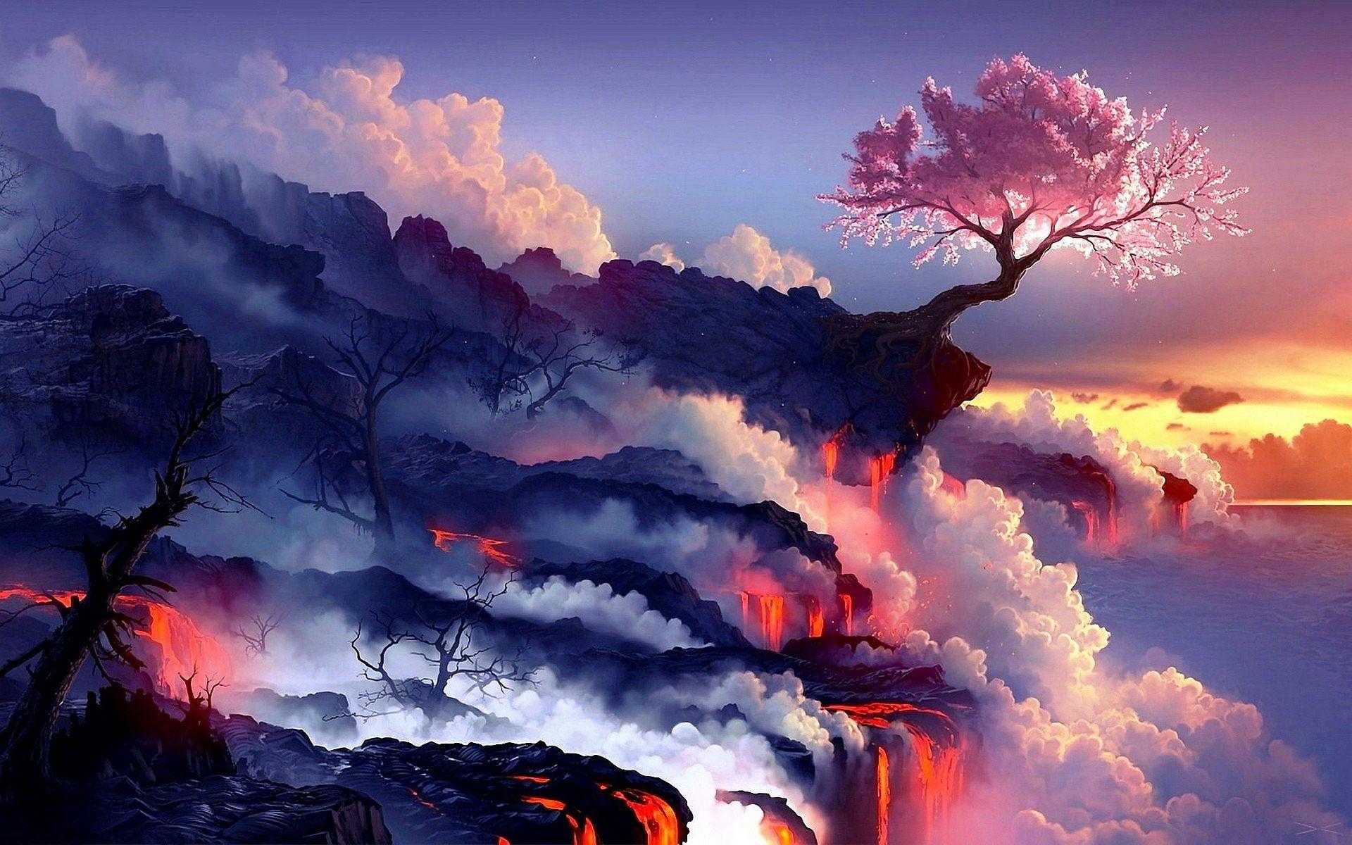 wallpaper animé,nature,sky,geological phenomenon,cloud,atmosphere
