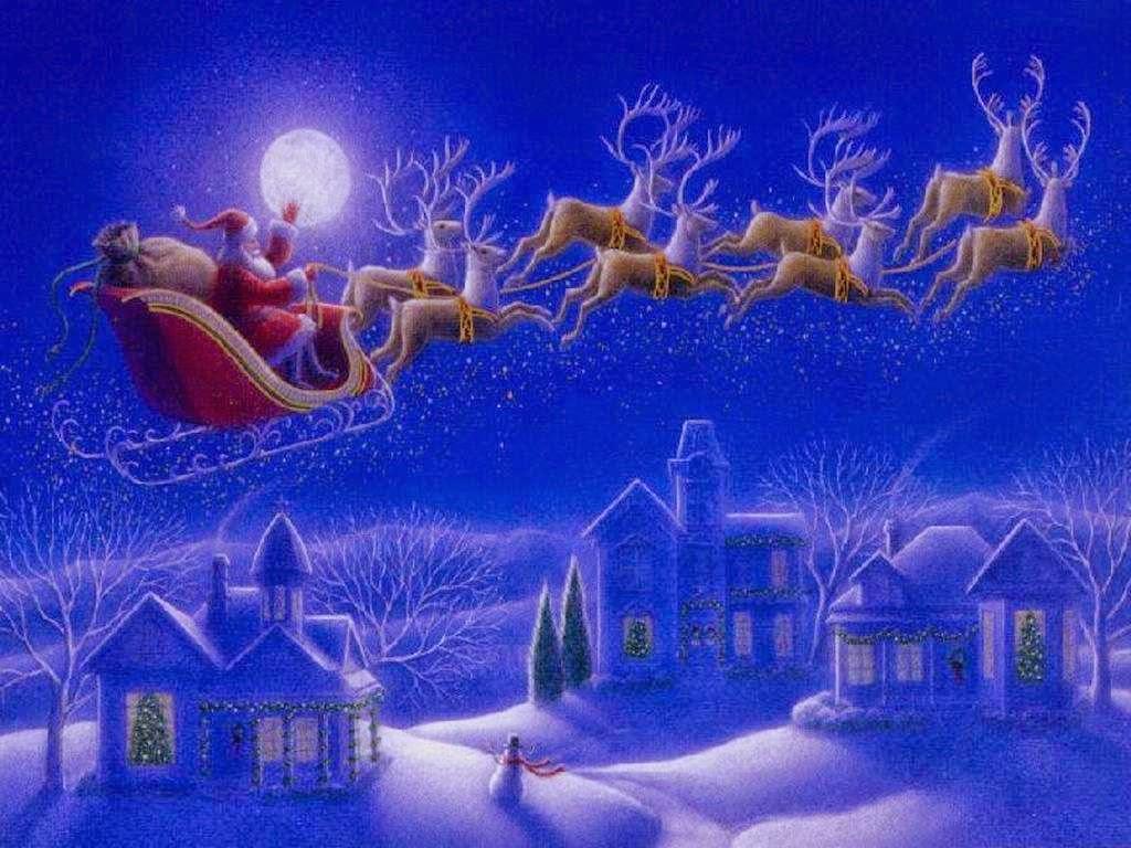 animated christmas wallpaper,christmas eve,reindeer,animated cartoon,sky,santa claus
