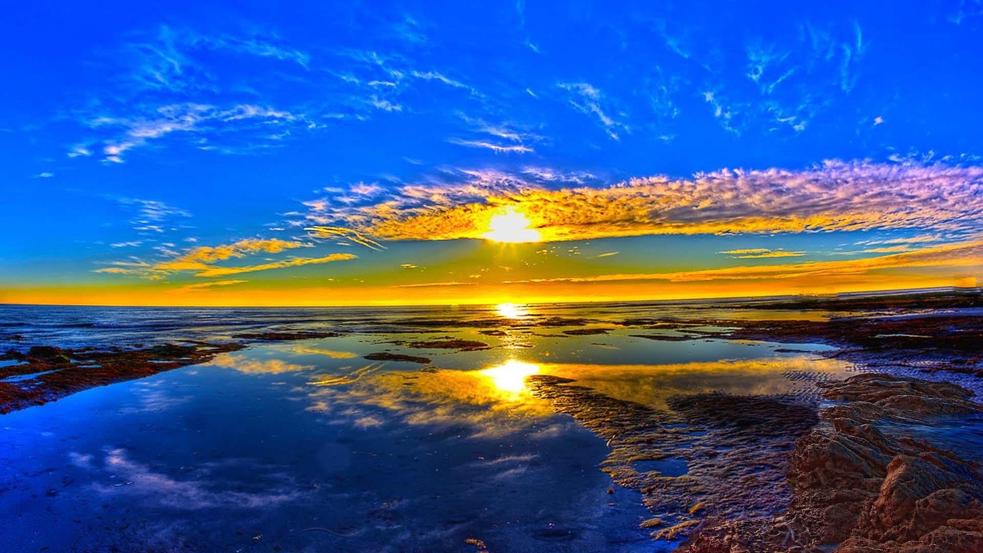 sunrise wallpaper hd,sky,nature,natural landscape,horizon,reflection