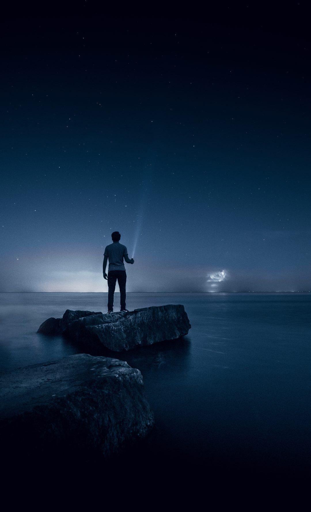 alone boy wallpaper,sky,blue,water,sea,horizon