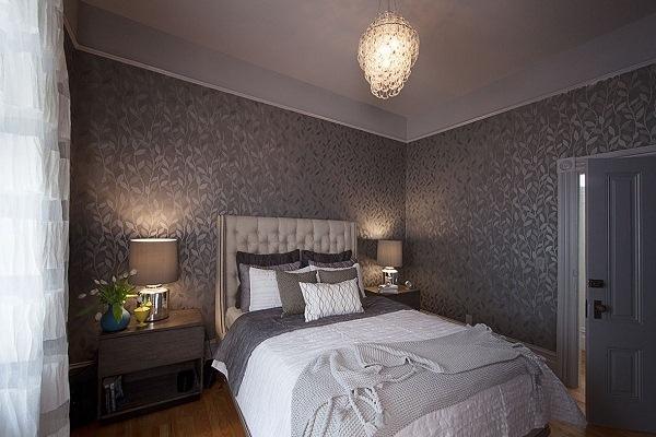 grey wallpaper bedroom,bedroom,bed,room,furniture,property
