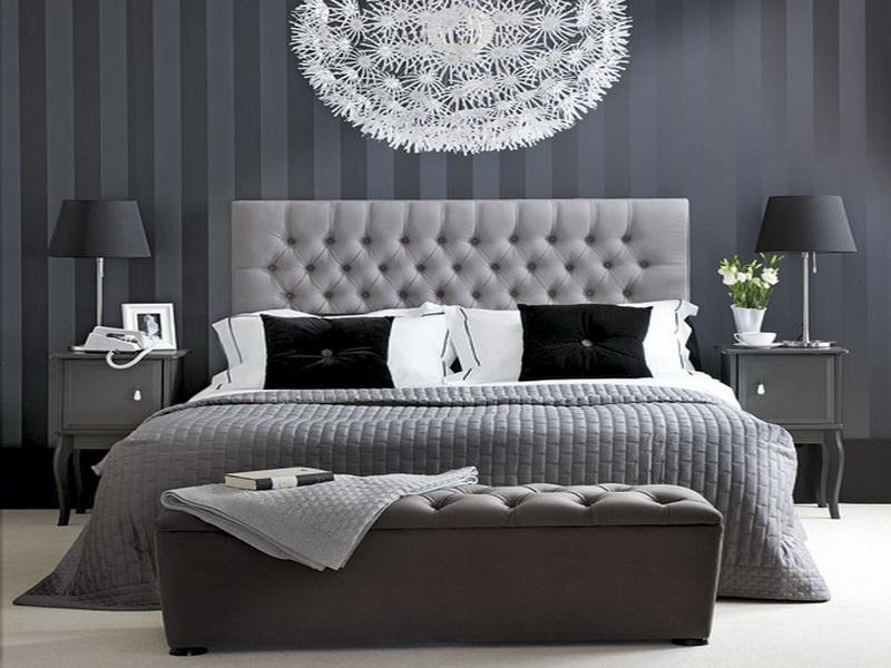 grey wallpaper bedroom,bedroom,furniture,room,black,bed