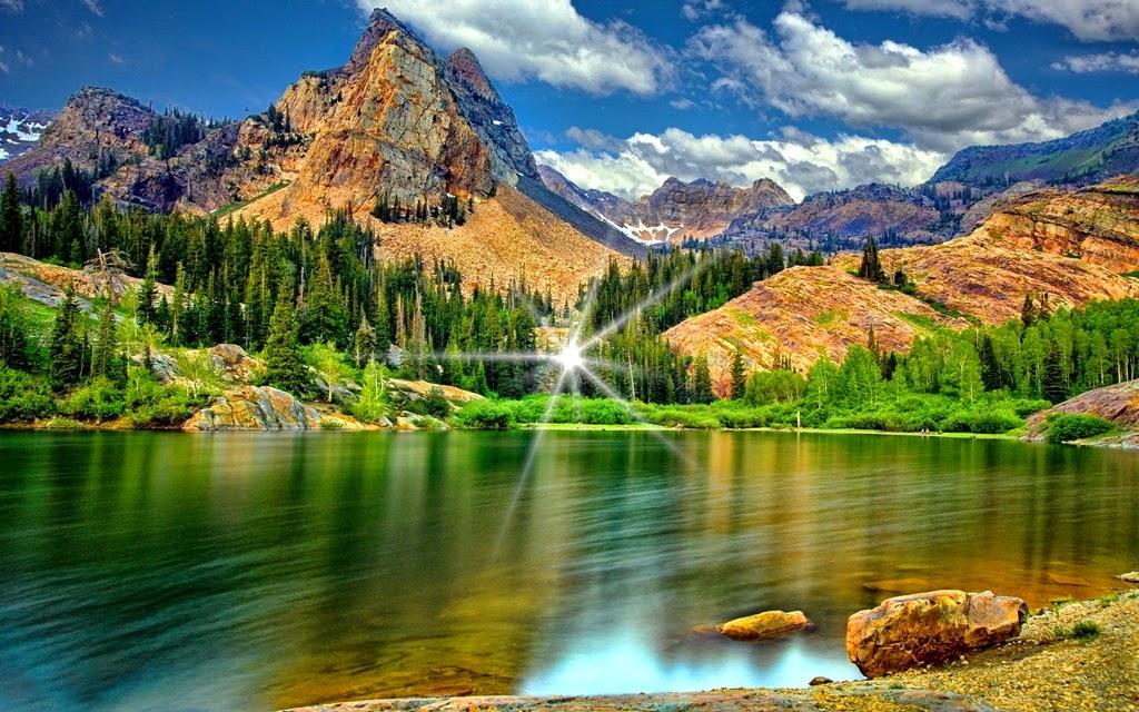 wallpaper pemandangan indah,natural landscape,nature,mountain,reflection,mountainous landforms