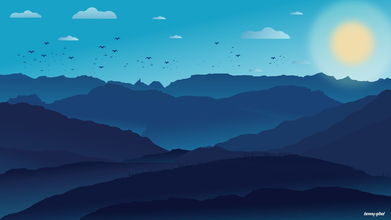 flat design wallpaper,sky,blue,mountainous landforms,nature,mountain