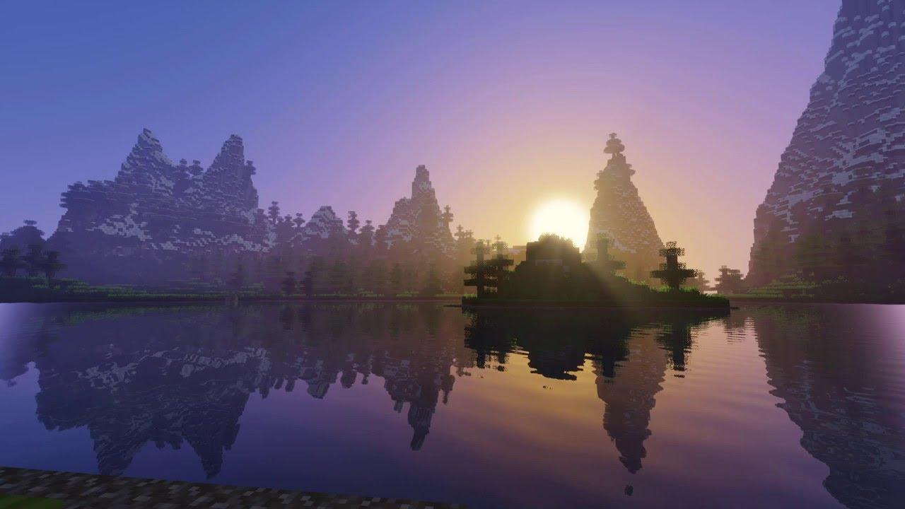 minecraft wallpaper hd,reflection,sky,nature,atmospheric phenomenon,water