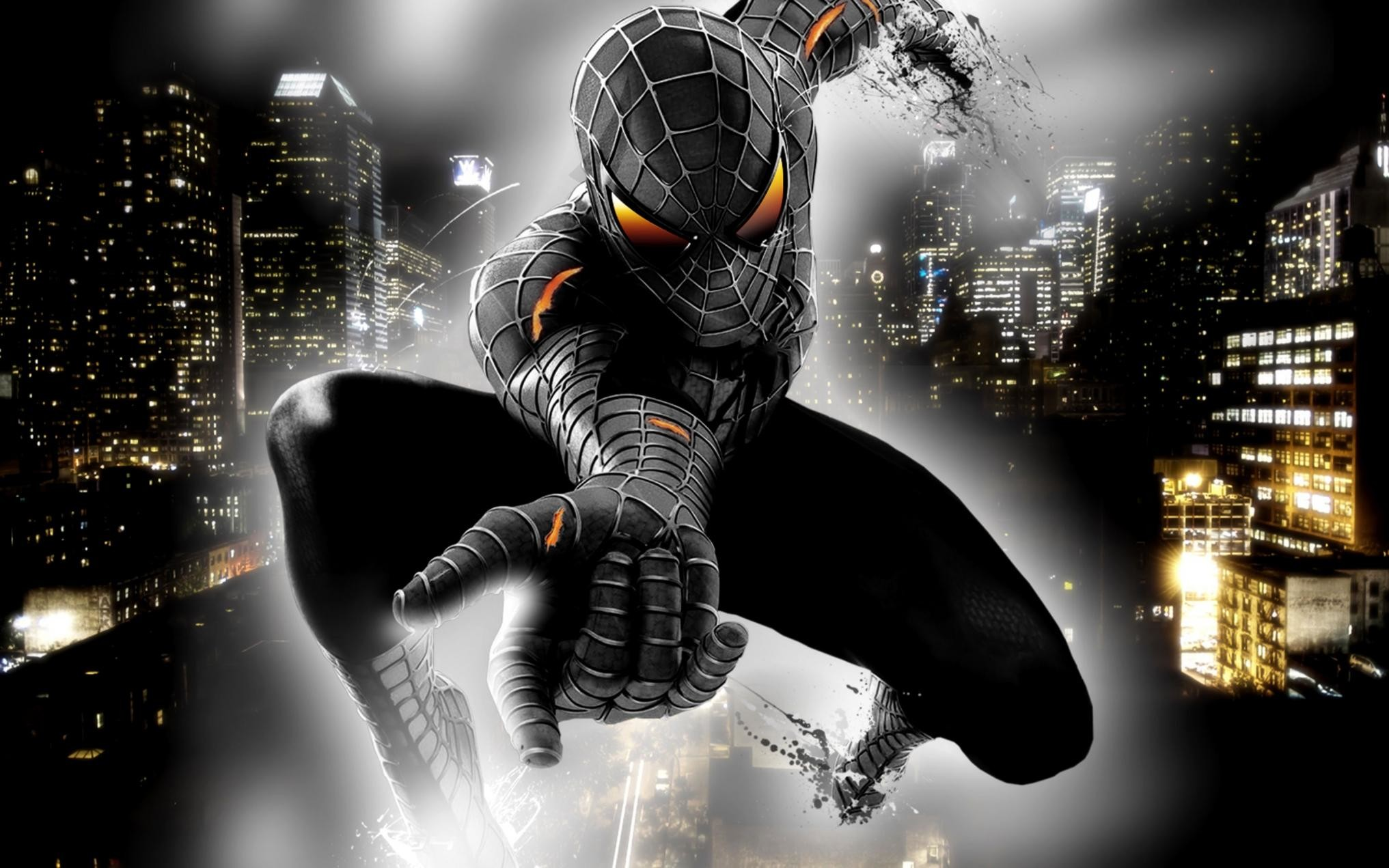 black spiderman wallpaper,graphic design,digital compositing,cg artwork,action adventure game,fictional character