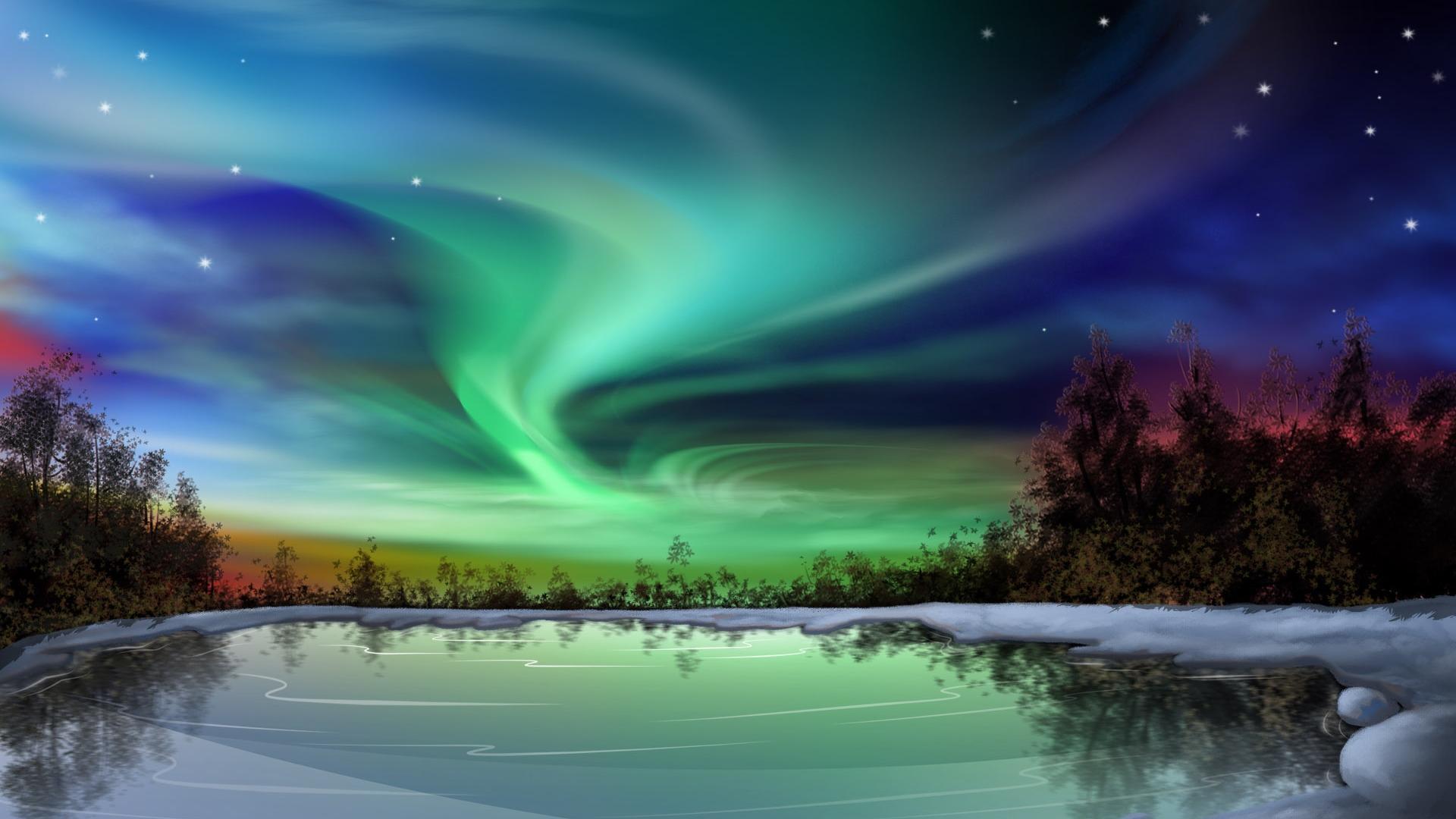 computer wallpaper background,sky,aurora,natural landscape,nature,atmosphere