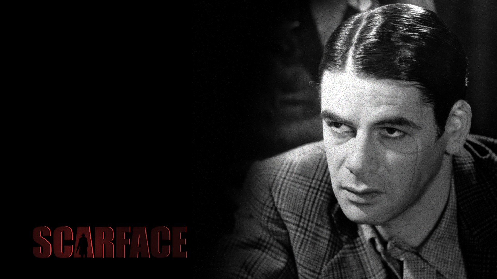 scarface wallpaper,forehead,chin,movie,black and white,photography
