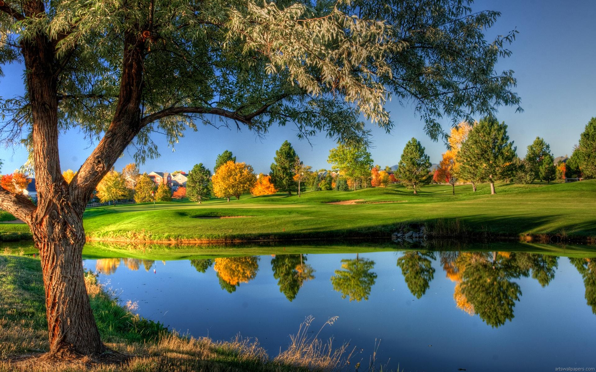 nature wallpaper hd for mobile,natural landscape,nature,sport venue,reflection,golf course