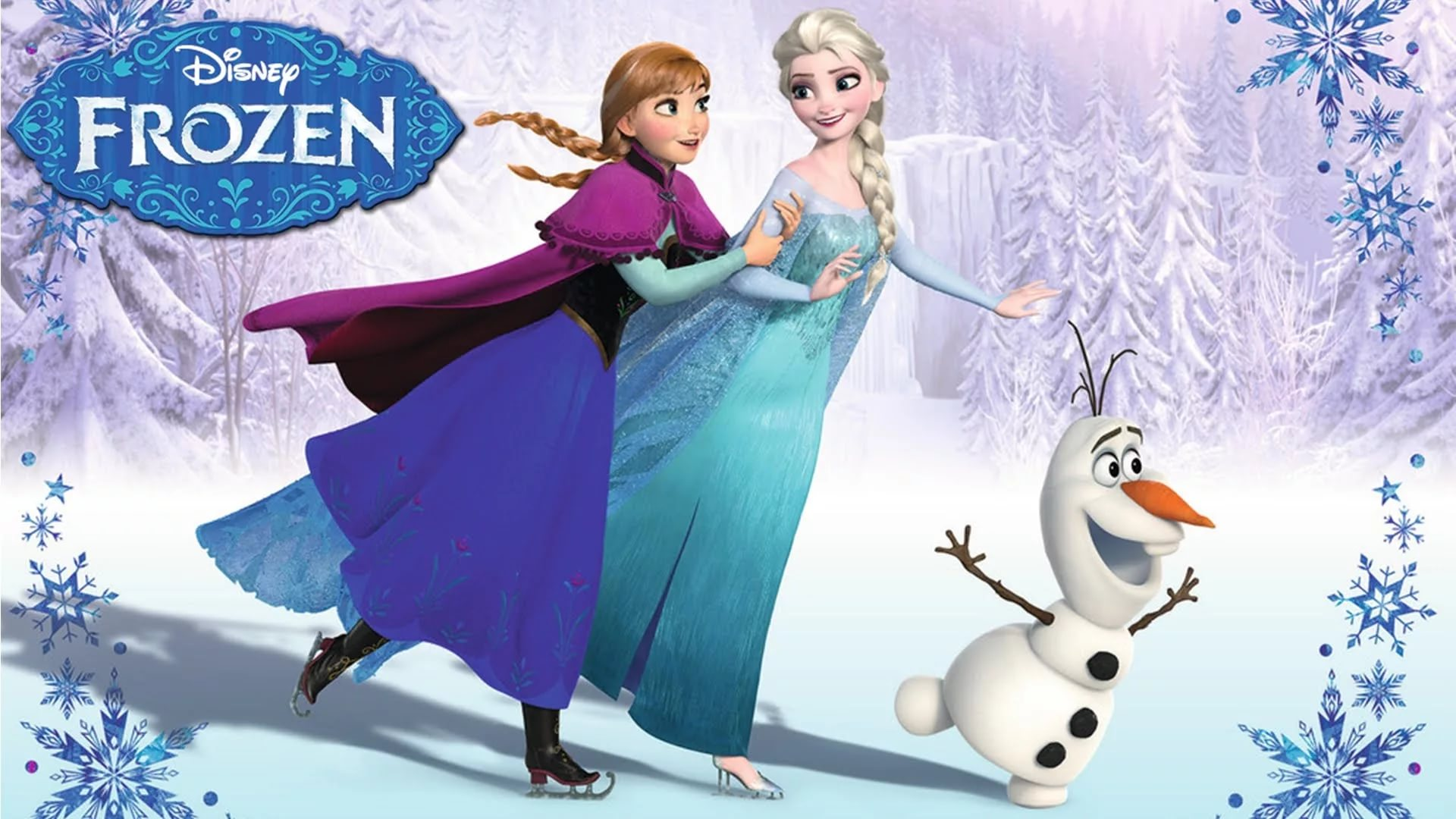 frozen wallpaper,animated cartoon,cartoon,animation,ice skating,snow