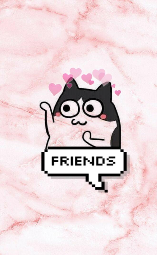 best friend wallpaper,pink,cartoon,text,cat,snout