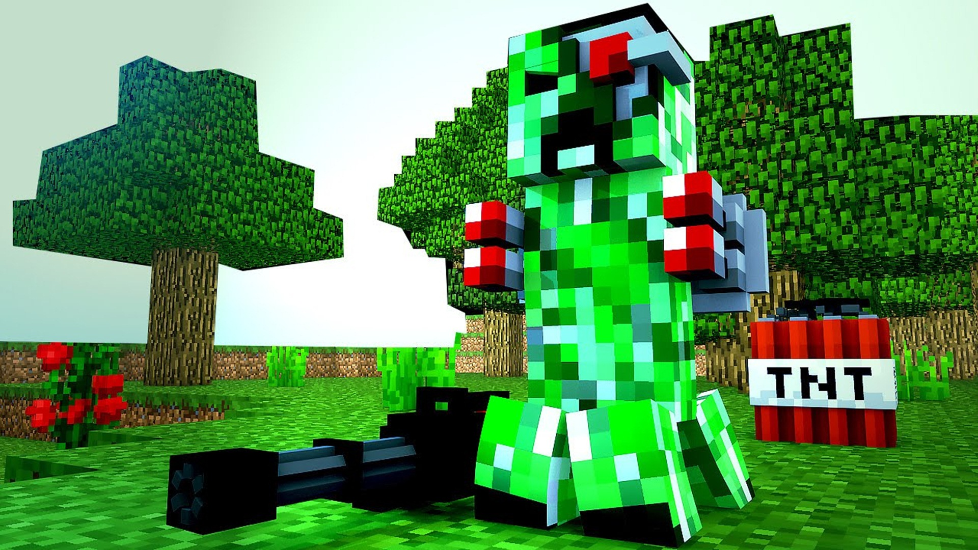 minecraft wallpaper,tree,video game software,grass,fictional character,plant