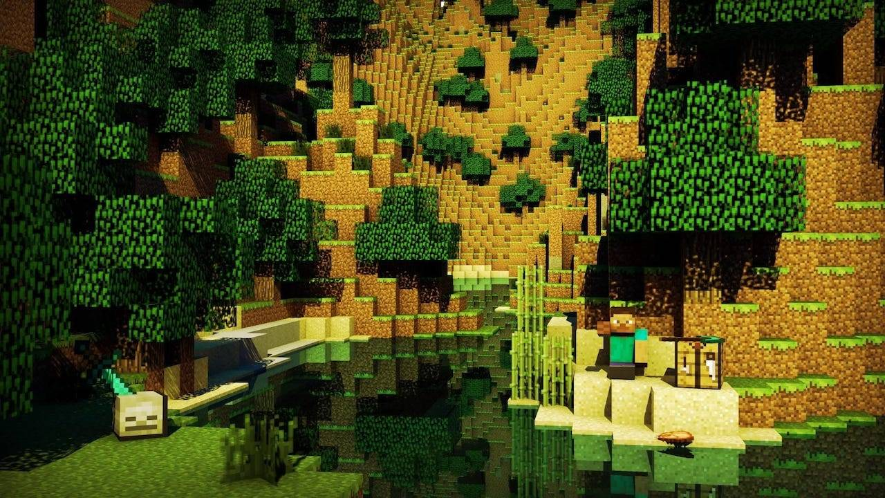 minecraft wallpaper,green,biome,tree,video game software,animation