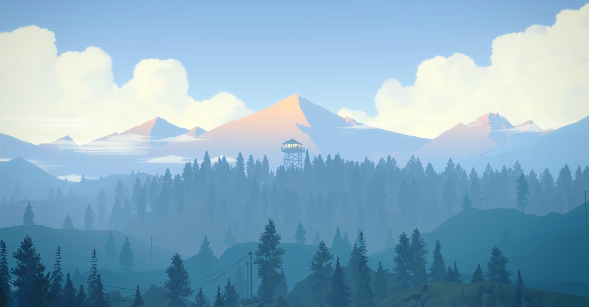 firewatch hd wallpaper,mountainous landforms,mountain,sky,mountain range,nature