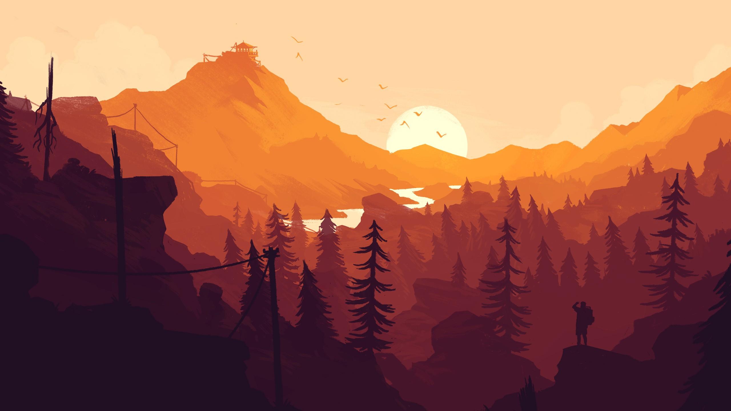 firewatch hd wallpaper,sky,mountainous landforms,nature,mountain,mountain range