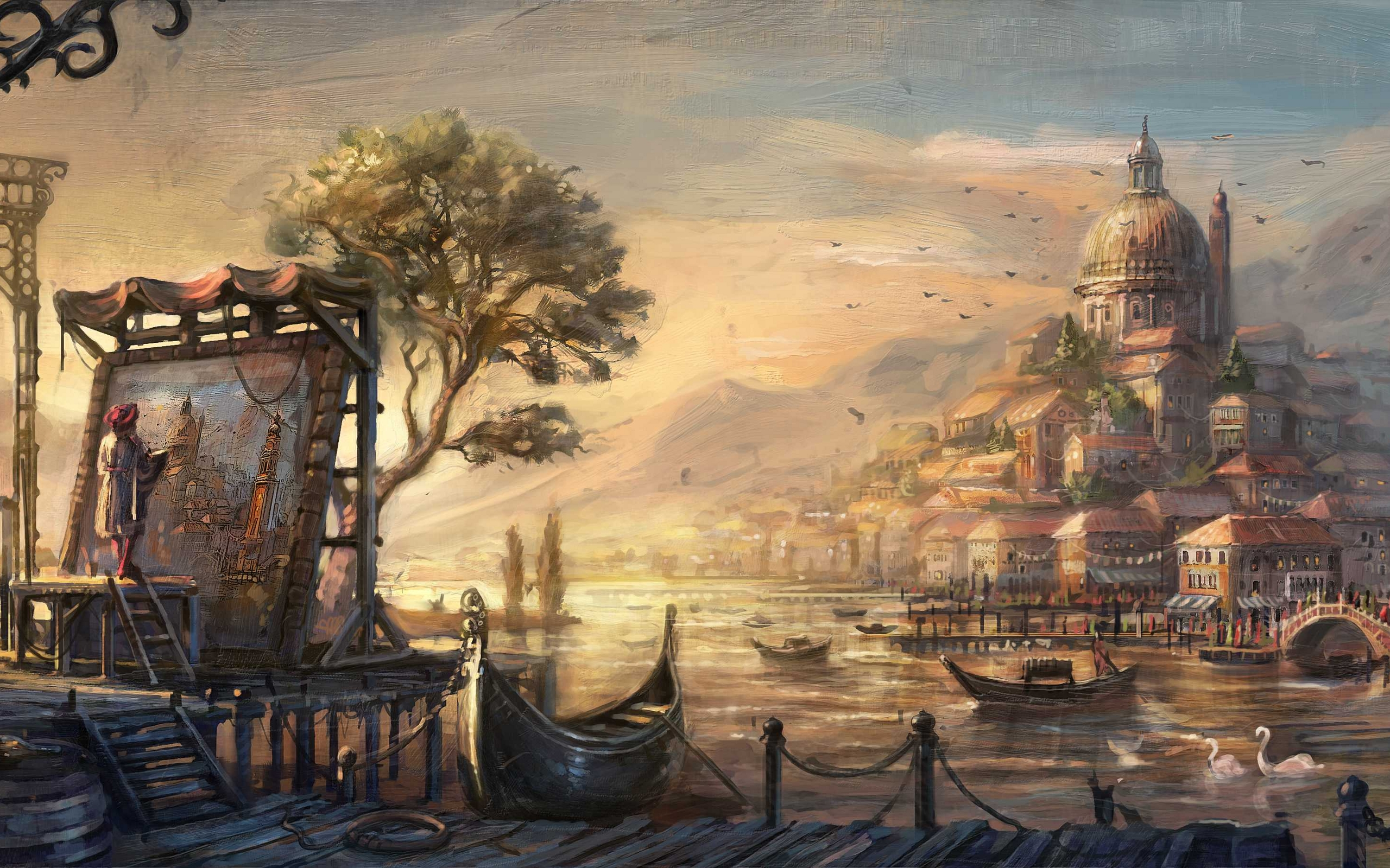 oil painting wallpaper hd,painting,strategy video game,adventure game,art,watercolor paint