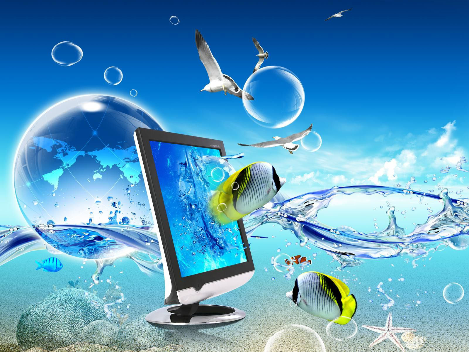 best computer wallpapers hd,water,technology,operating system,atmosphere,electronic device