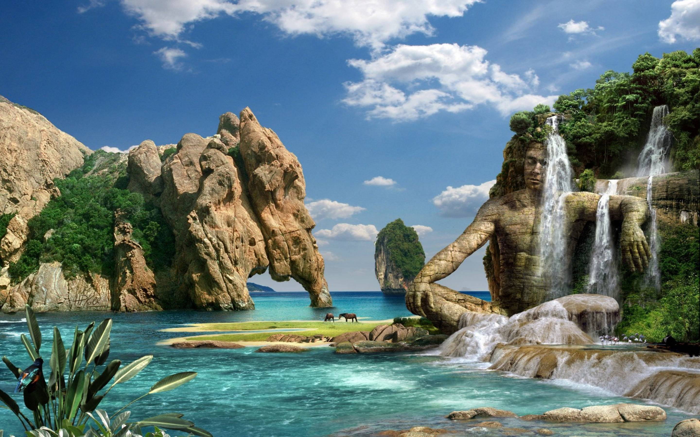 nature 3d wallpaper windows 7,natural landscape,body of water,nature,water resources,water