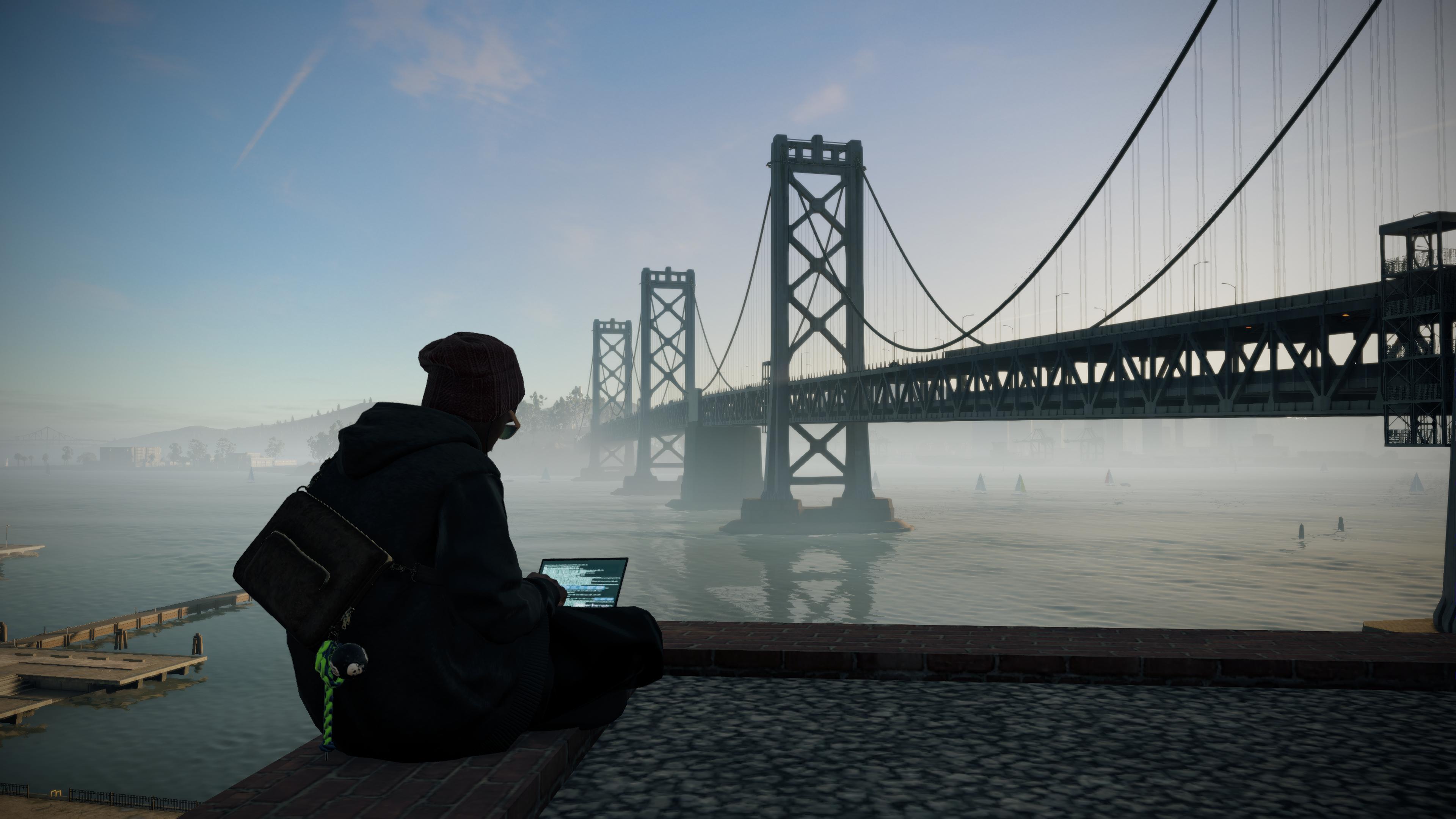 watch dogs 2 wallpaper 4k,water,bridge,sky,sitting,river
