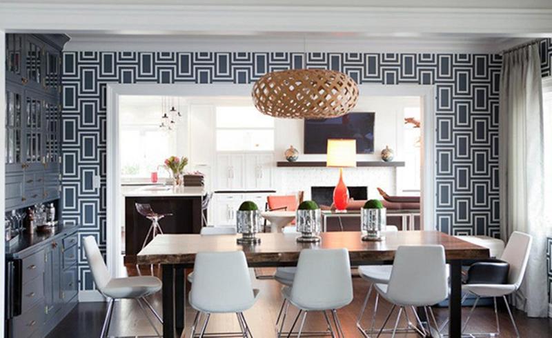 wallpaper for dining room modern,room,interior design,dining room,furniture,property