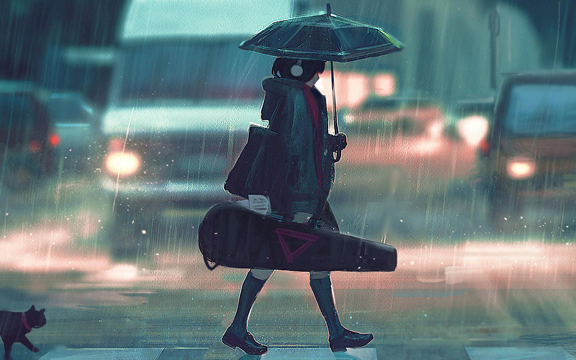 anime girl wallpaper,umbrella,rain,fashion accessory,photography,precipitation
