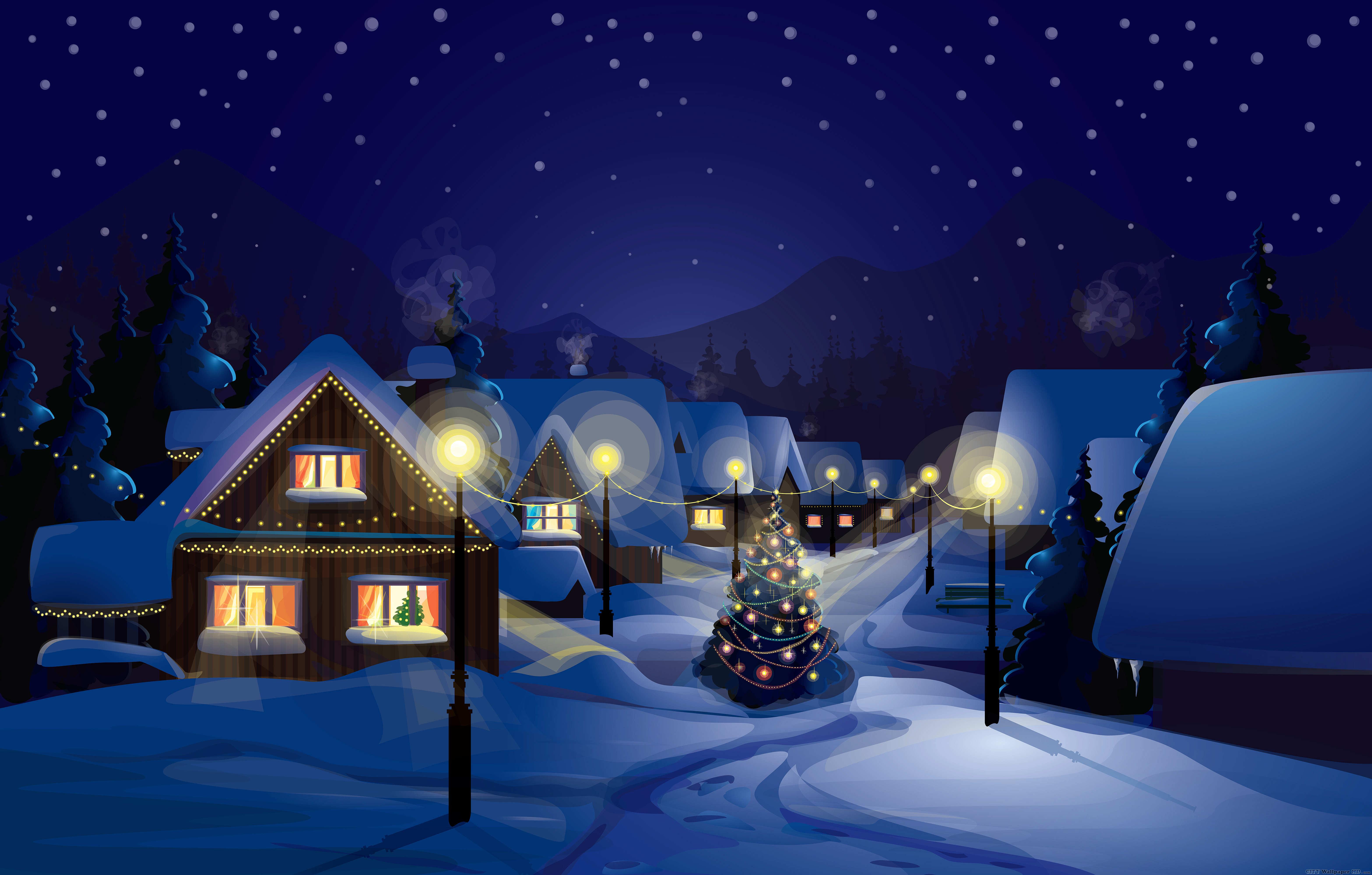 christmas night wallpaper,winter,snow,blue,christmas eve,sky
