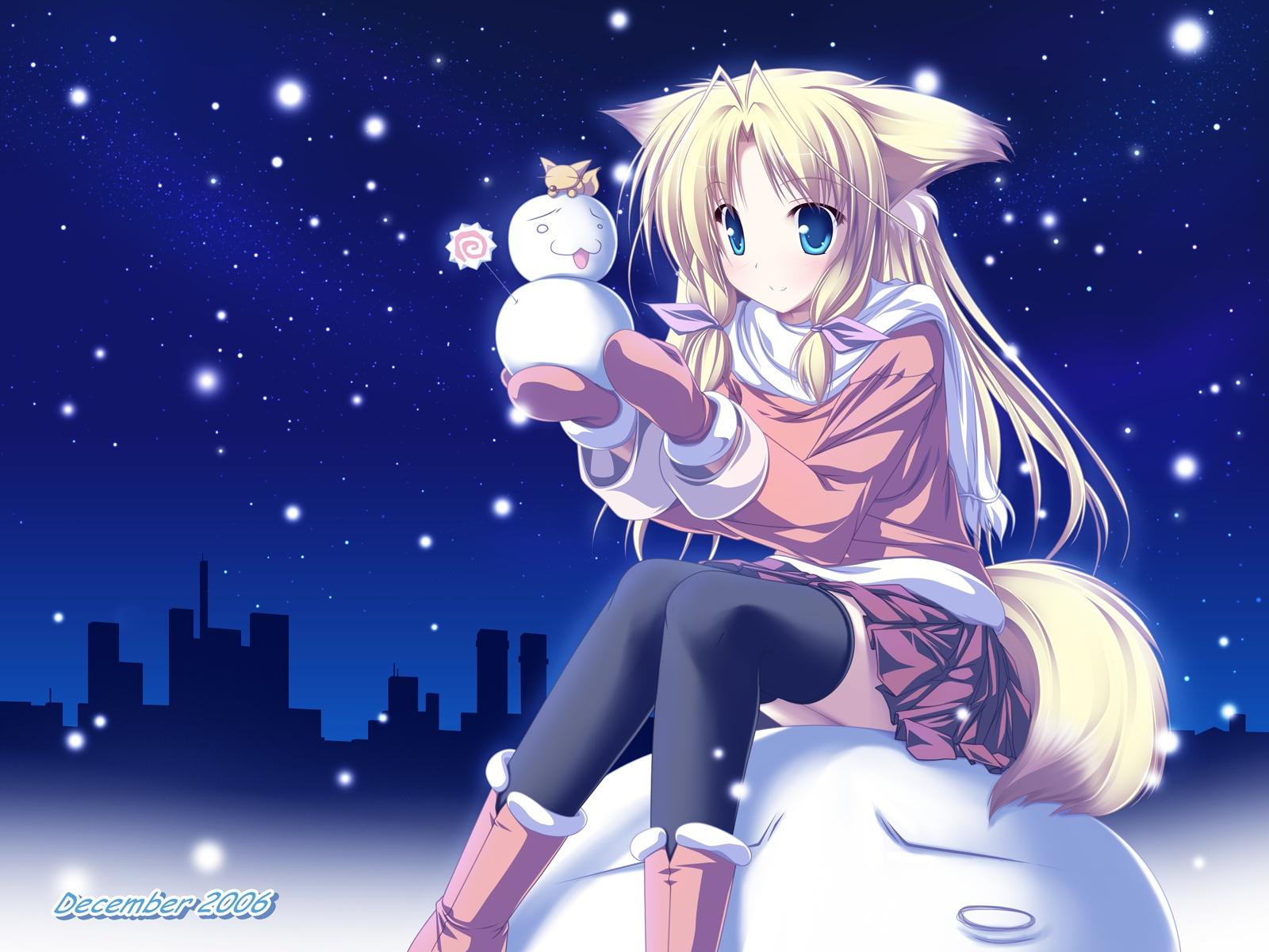 navidad anime wallpaper,cartoon,anime,sky,cg artwork,illustration