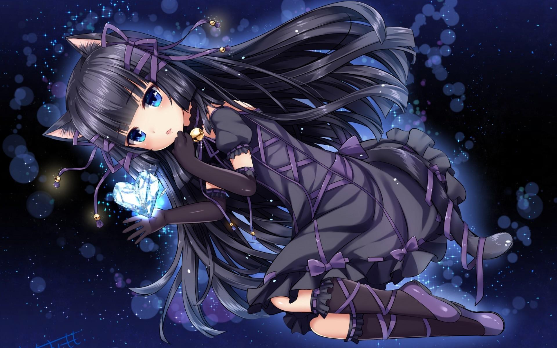 anime cat girl wallpaper,cg artwork,anime,cartoon,fictional character,illustration