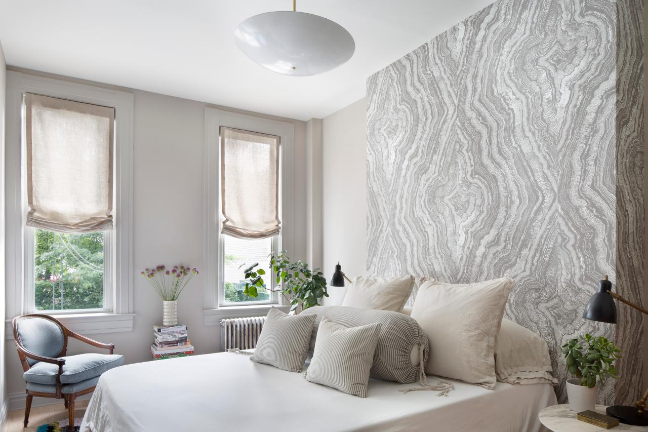 Contemporary Bedroom With Gray Wallpaper