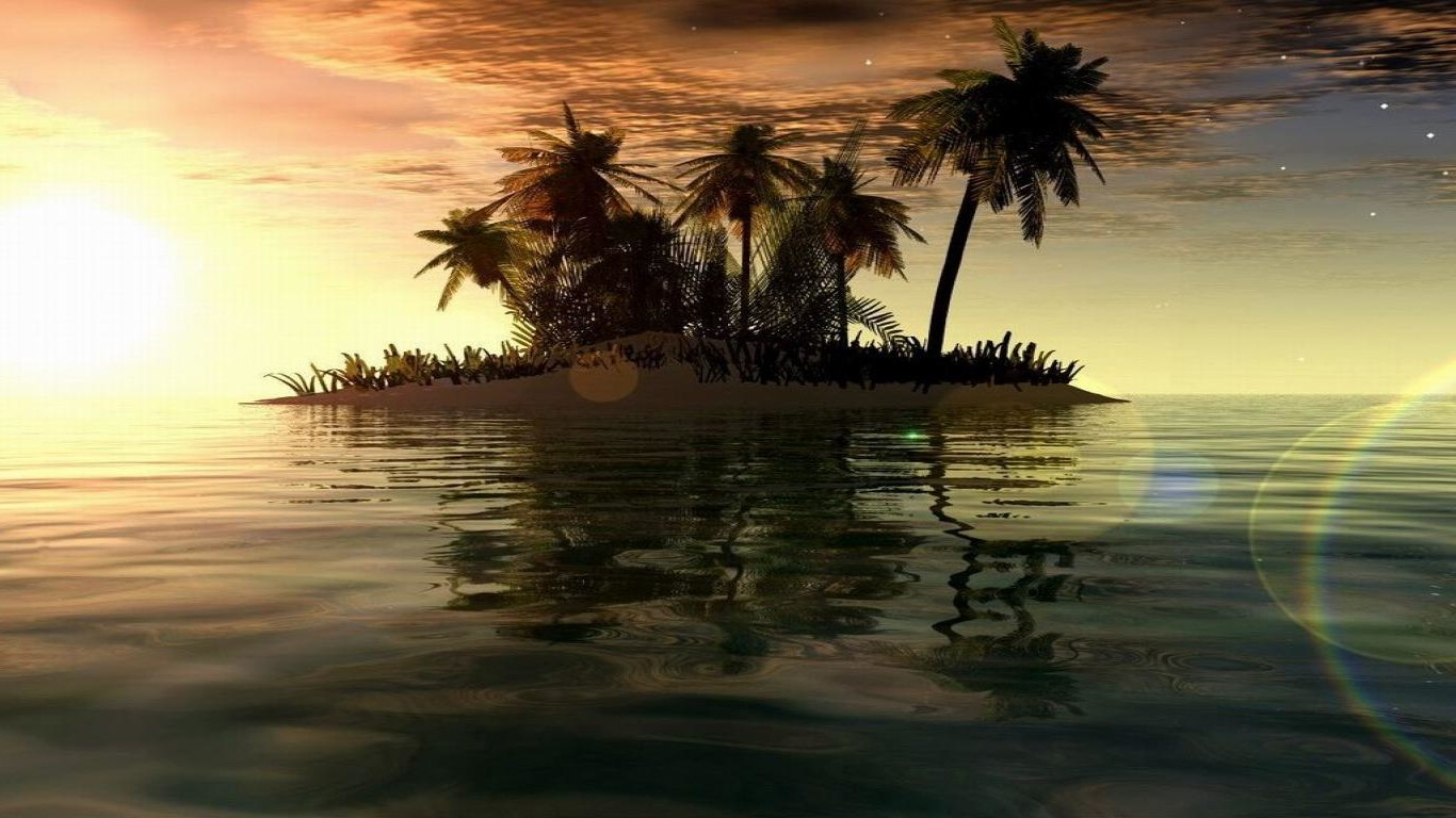 wallpaper hd pc 1366x768,nature,sky,tree,palm tree,horizon