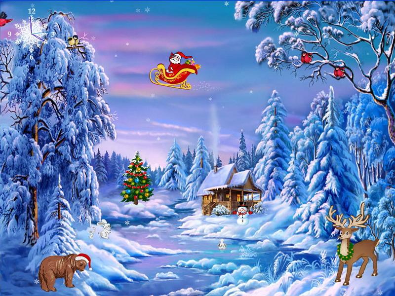 free animated christmas wallpaper,winter,christmas eve,frost,tree,animated cartoon