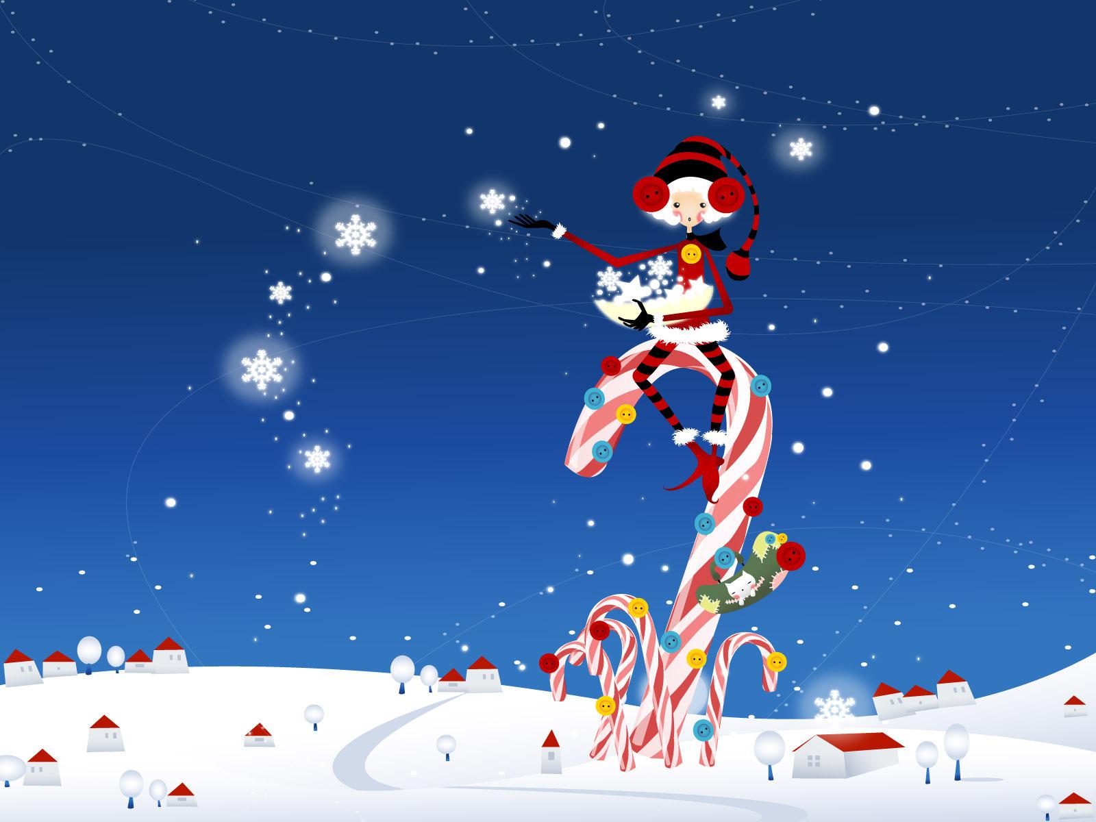 free animated christmas wallpaper,cartoon,christmas,sky,christmas eve,fictional character