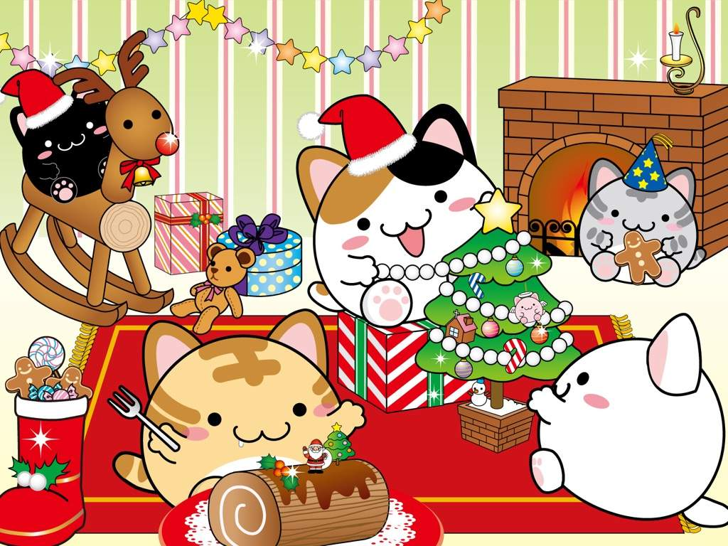 kawaii christmas wallpaper,cartoon,clip art,christmas eve,graphics,illustration