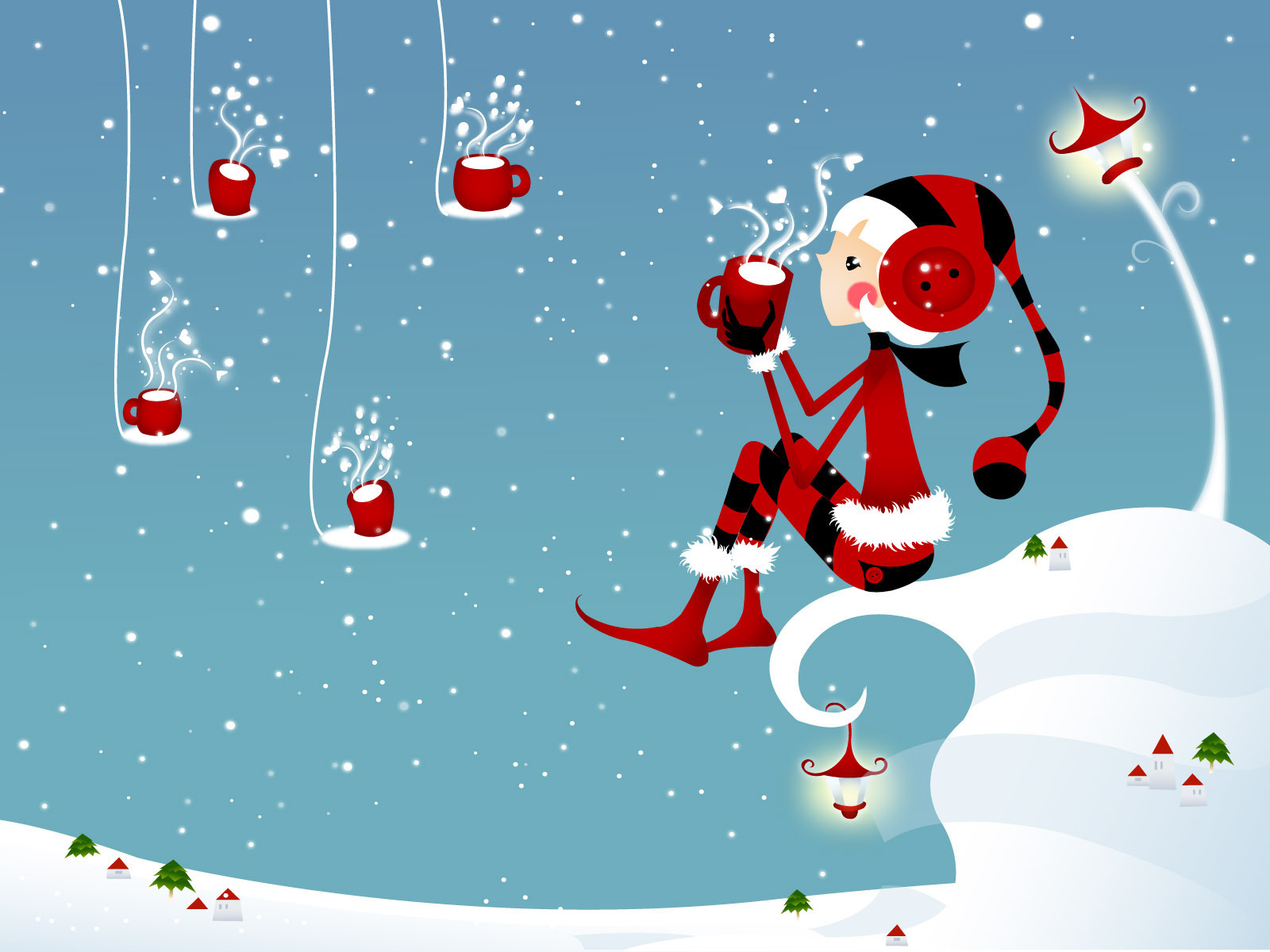 kawaii christmas wallpaper,santa claus,cartoon,christmas,illustration,fictional character