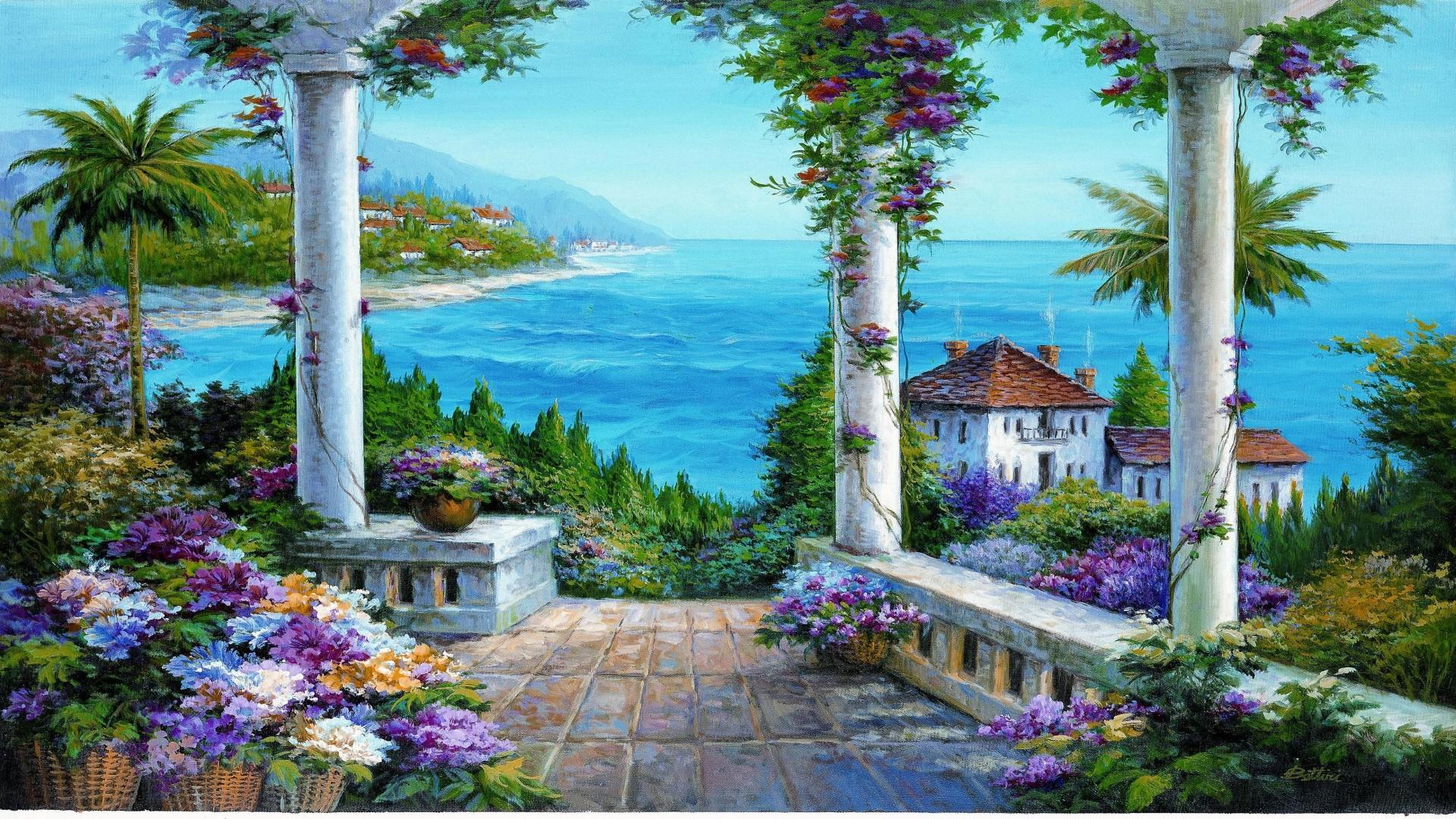 beautiful view wallpaper,property,natural landscape,painting,building,acrylic paint