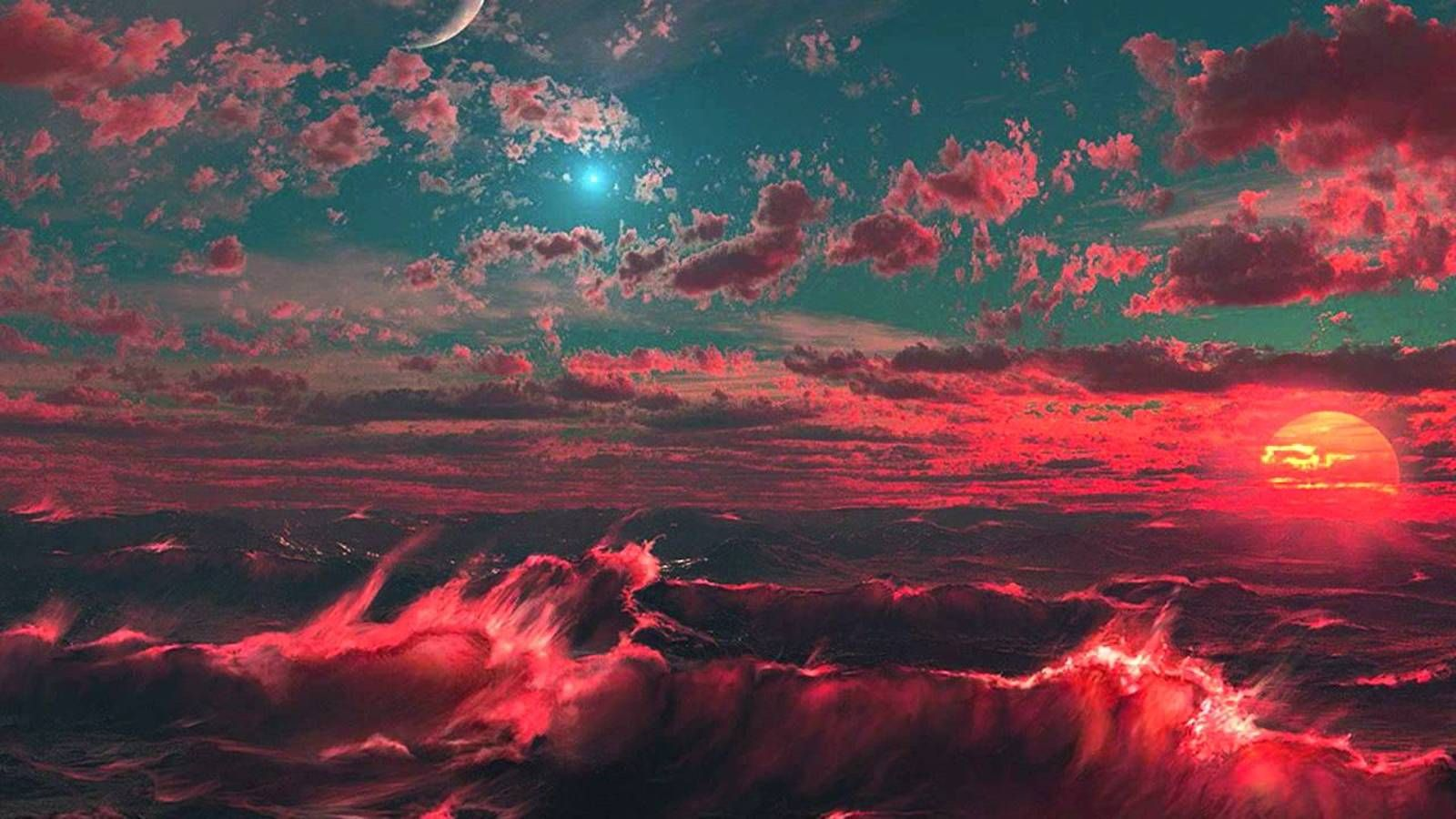 aesthetic laptop wallpaper,sky,red,nature,cloud,geological phenomenon