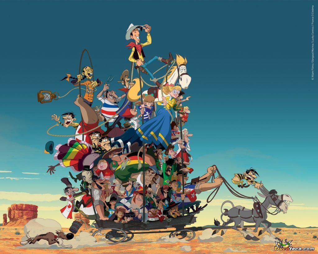 lucky luke wallpaper,cartoon,animated cartoon,illustration,animation,art