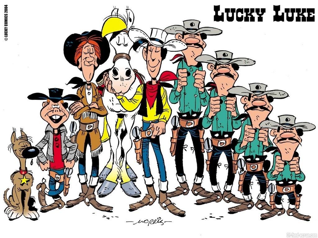 lucky luke wallpaper,cartoon,people,social group,illustration,clip art